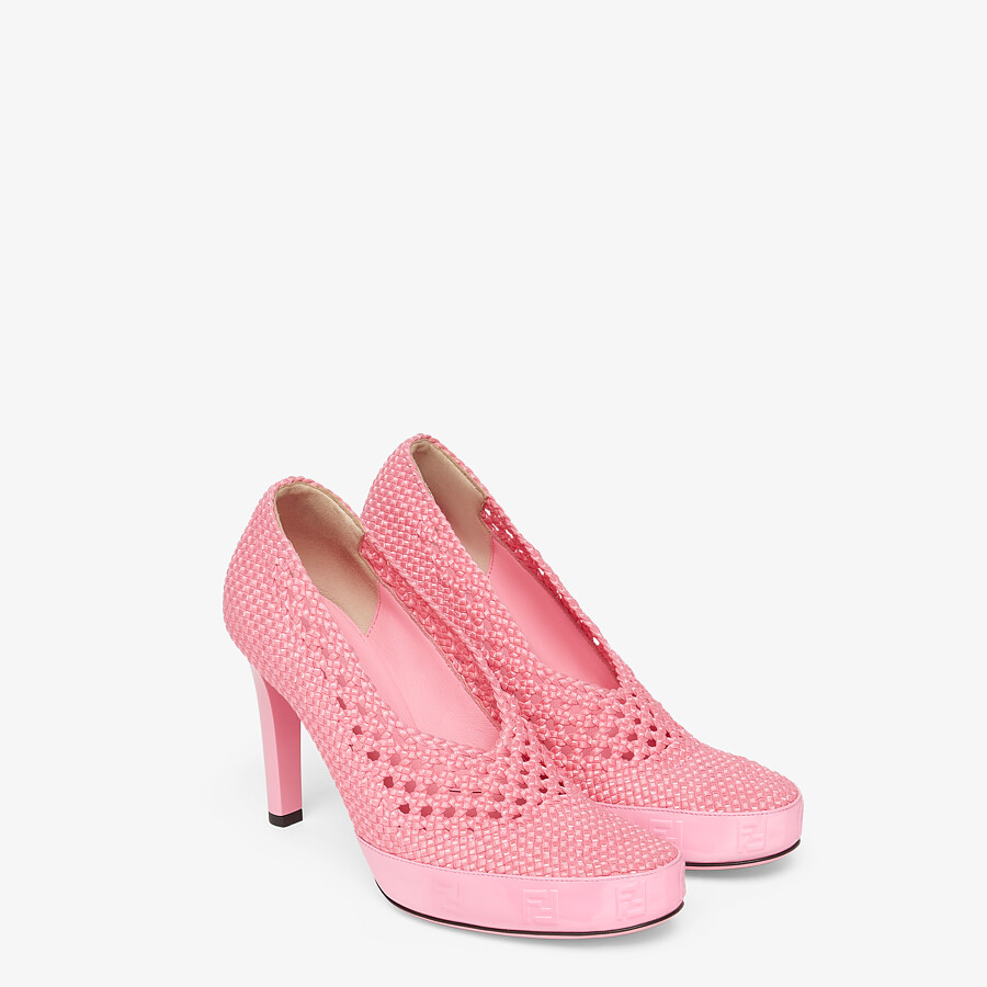 FENDI FENDI REFLECTIONS PUMPS - Elasticated pink lace pumps - view 4 detail