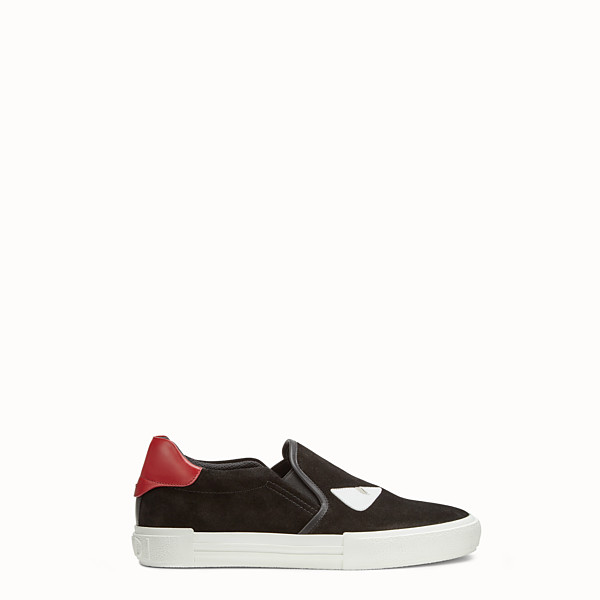 FENDI SNEAKERS - Black leather slip-ons - view 1 small thumbnail