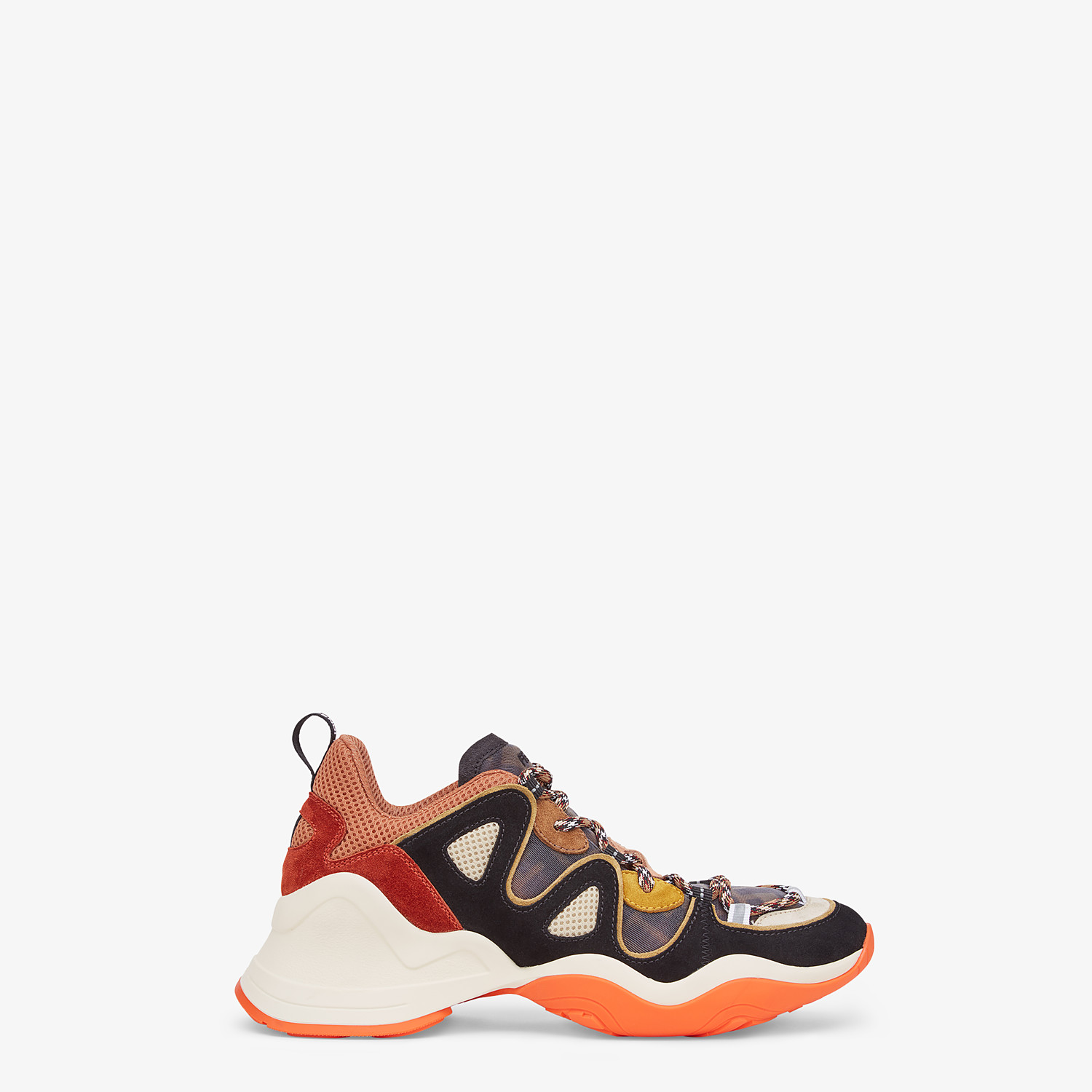 FENDI SNEAKERS - Multicolour suede and tech mesh sneakers - view 1 detail