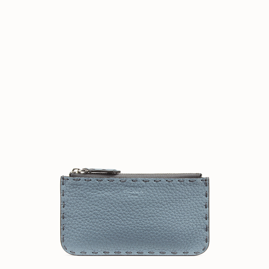 FENDI CARD POUCH - Pale blue leather pouch - view 1 detail