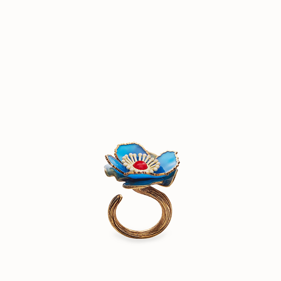 FENDI FLOWER RING - Blue enamelled ring - view 1 detail