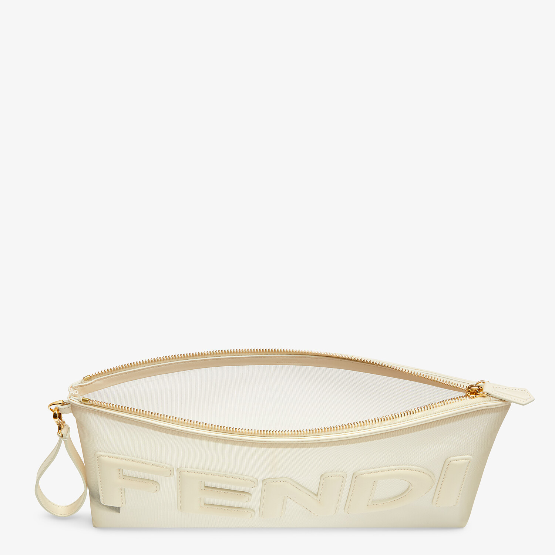FENDI FLAT POUCH LARGE - White micro-mesh pouch - view 3 detail