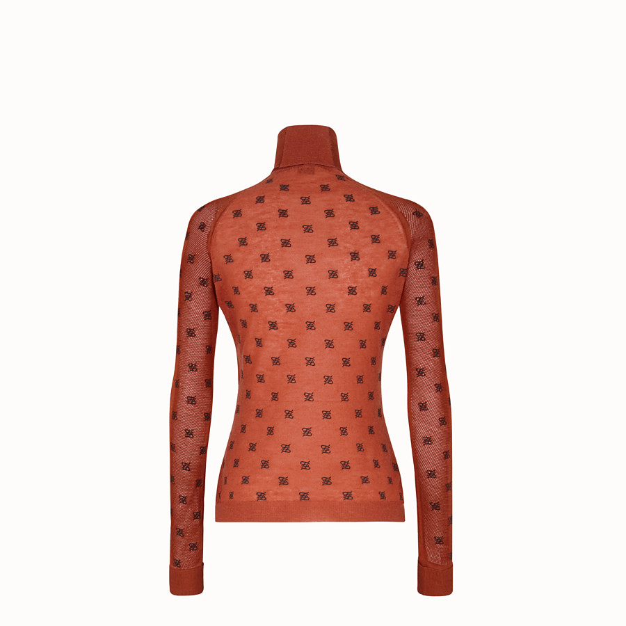 FENDI PULLOVER - Brown silk and wool jumper - view 2 detail