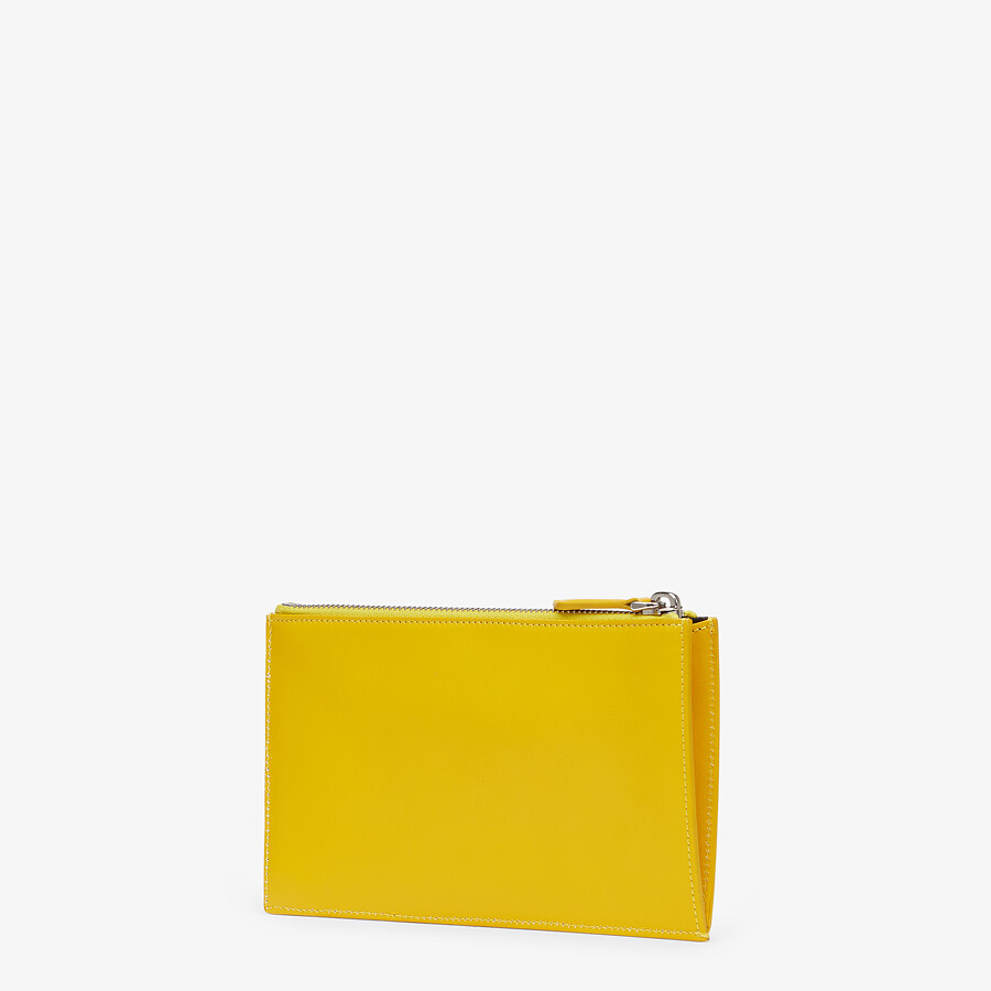 FENDI BAGUETTE POUCH SMALL - Yellow leather bag - view 2 detail