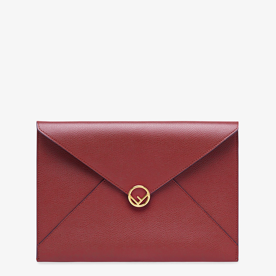 FENDI FLAT POUCH LARGE - Burgundy leather pouch - view 1 detail