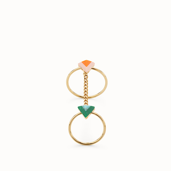 FENDI RAINBOW RING - Double Rainbow ring in metal and stone - view 1 small thumbnail