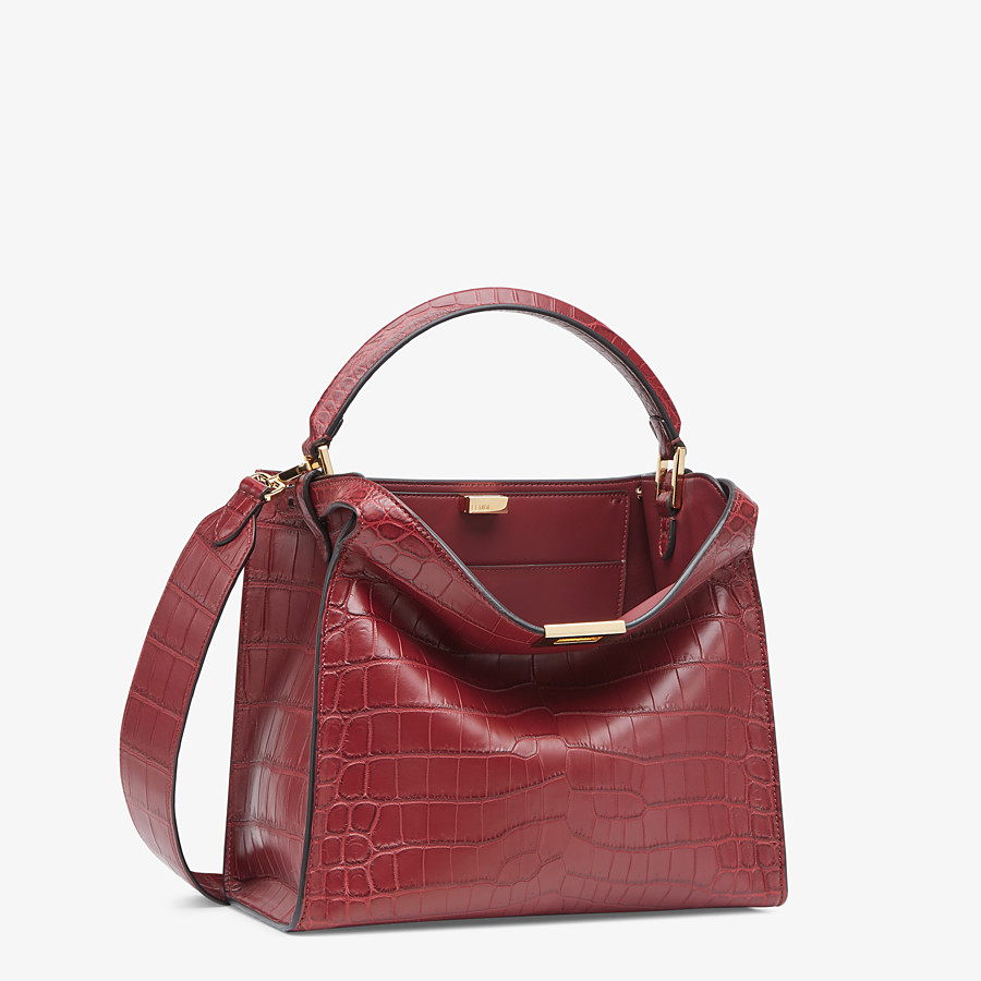 FENDI PEEKABOO X-LITE MEDIUM - Burgundy crocodile leather bag - view 3 detail