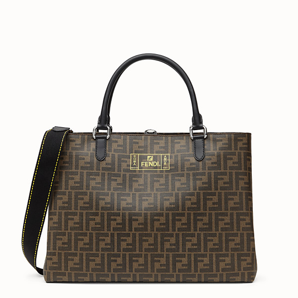 FENDI SMALL TOTE BAG - Shopper in brown fabric - view 1 small thumbnail