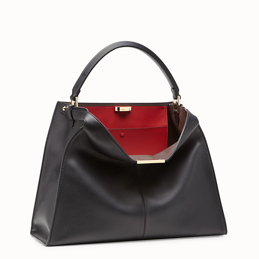 FENDI PEEKABOO X-LITE LARGE - Black leather bag - view 4 detail