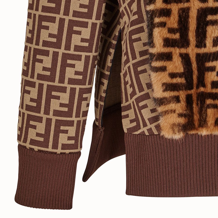FENDI JUMPER - Brown fabric and fur jumper - view 3 detail