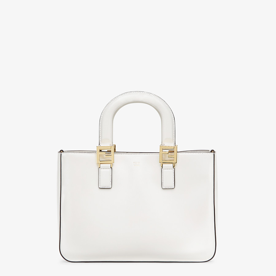 FENDI FF TOTE SMALL - White leather bag - view 1 detail
