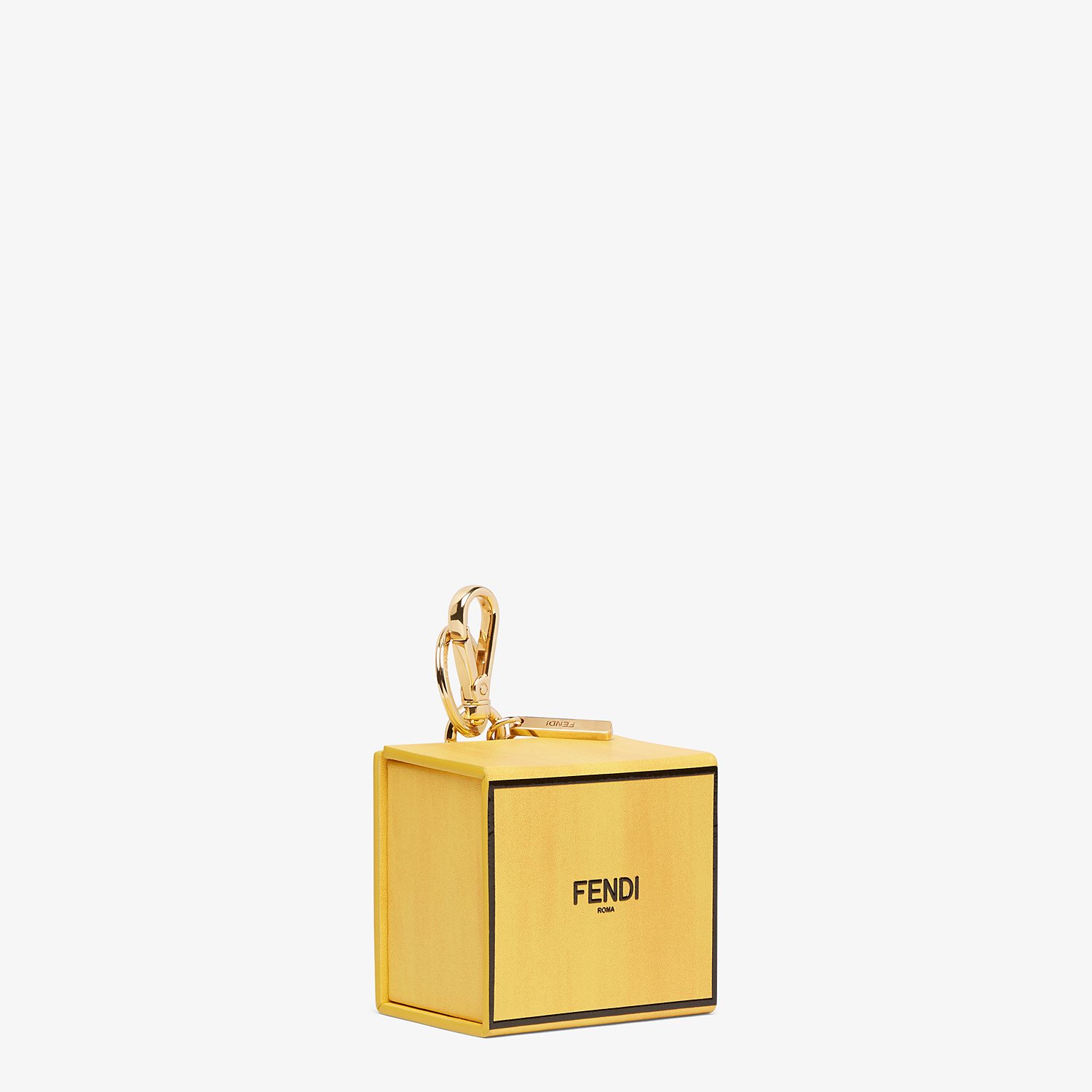 FENDI BOX KEY CHARM - Yellow leather key ring - view 2 detail