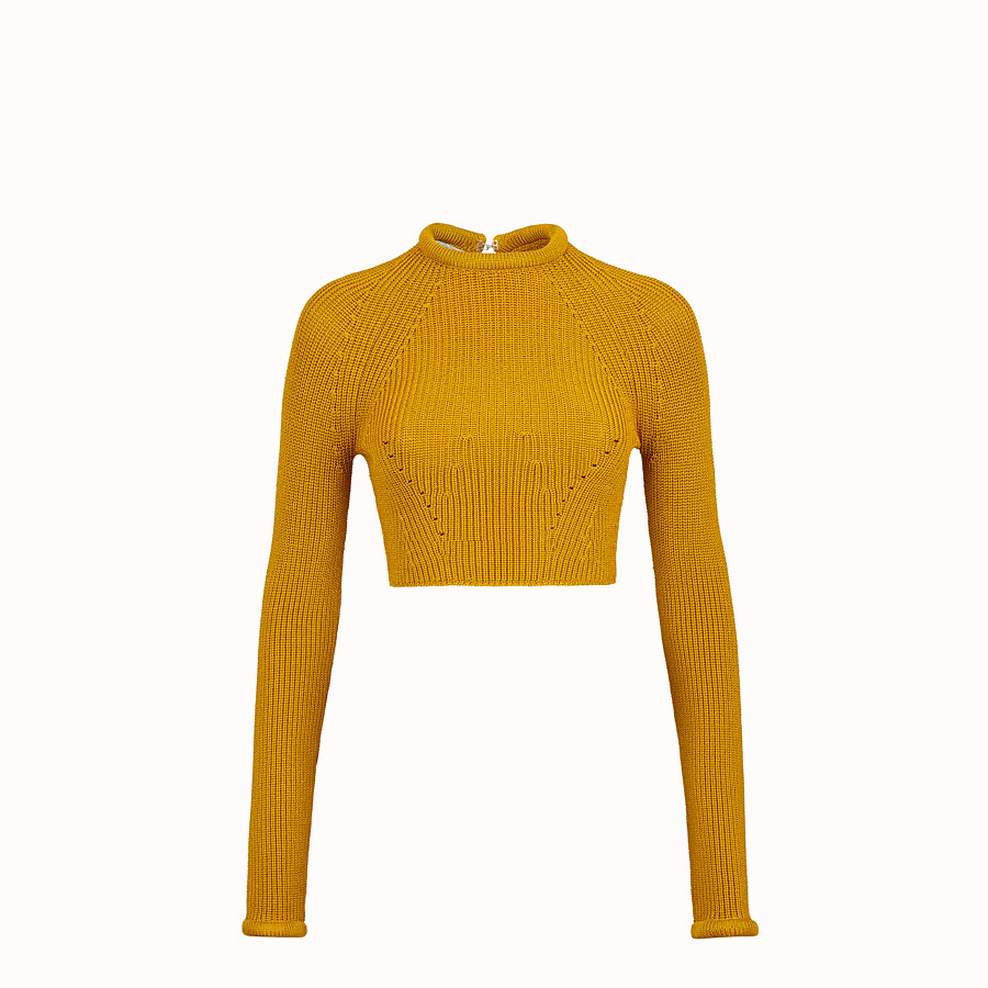 FENDI JUMPER - Yellow silk pullover - view 1 detail