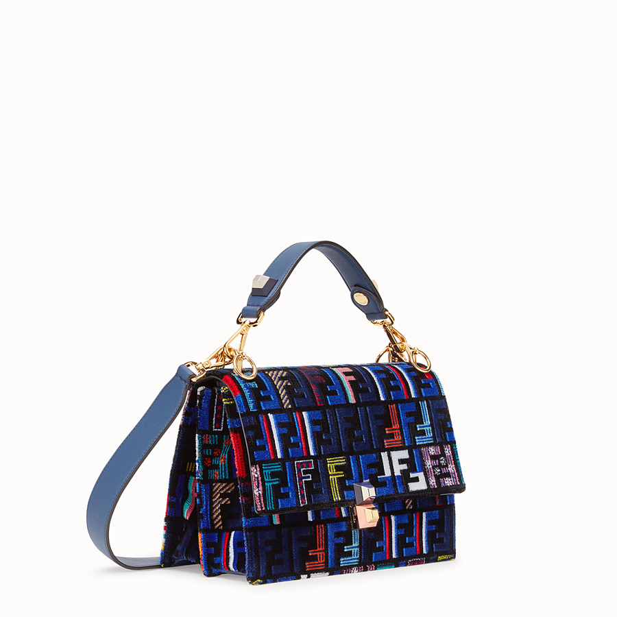 FENDI KAN I - Blue leather and silk bag - view 2 detail