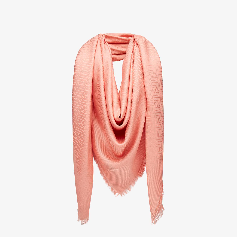 FENDI FF SHAWL - Shawl in pink wool and silk - view 2 detail