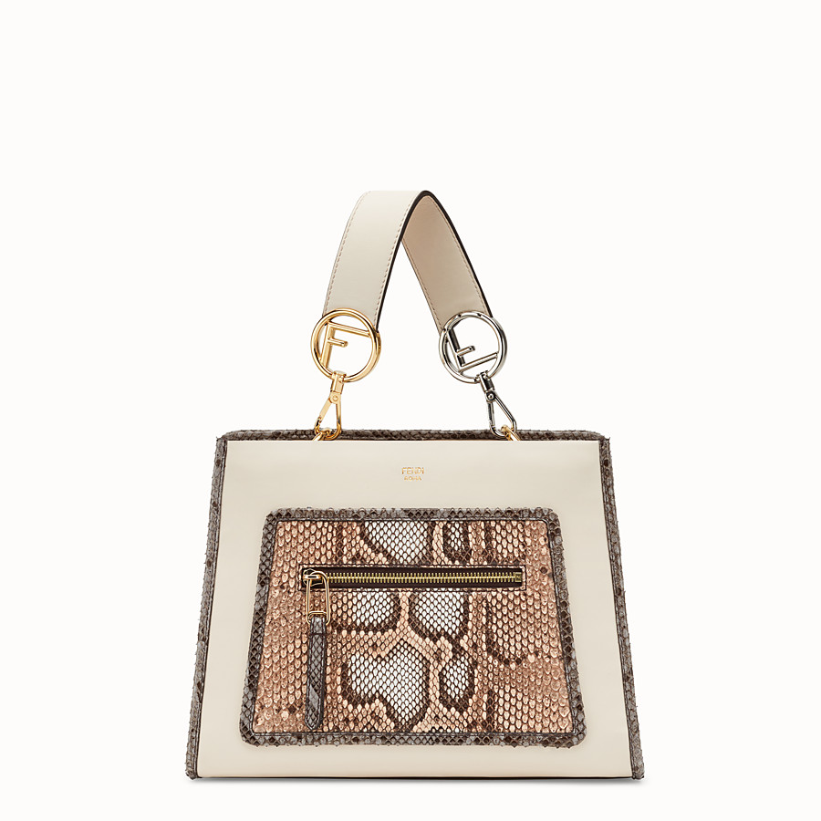 FENDI RUNAWAY SMALL - White leather bag with exotic details - view 1 detail