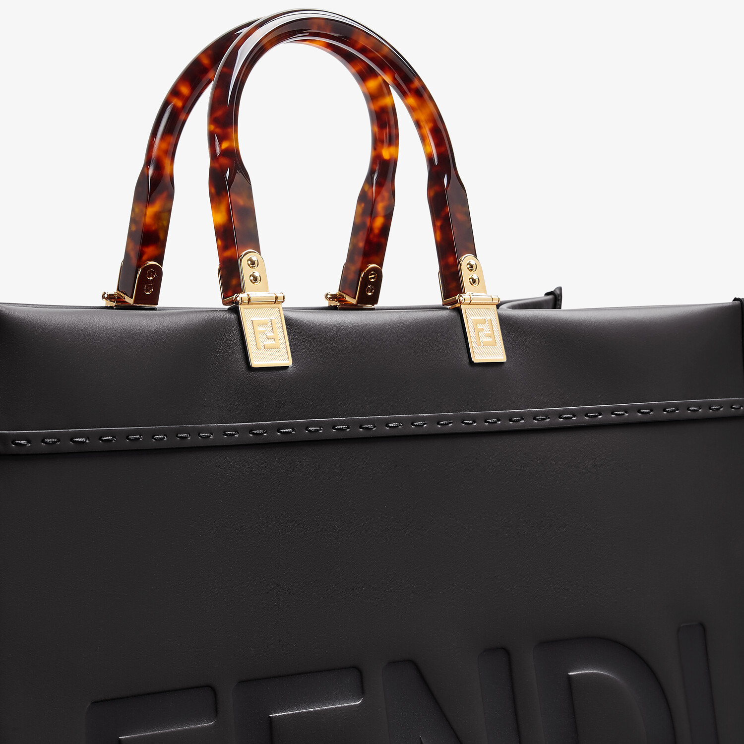 FENDI SUNSHINE SHOPPER - Black leather shopper - view 5 detail