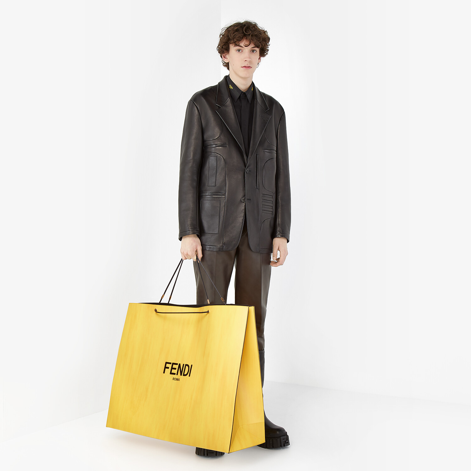 FENDI FENDI PACK LARGE SHOPPING BAG - Yellow leather bag - view 6 detail