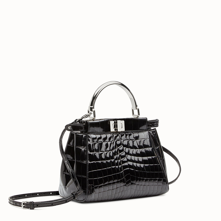 FENDI PEEKABOO MINI - Black crocodile leather handbag. - view 2 detail