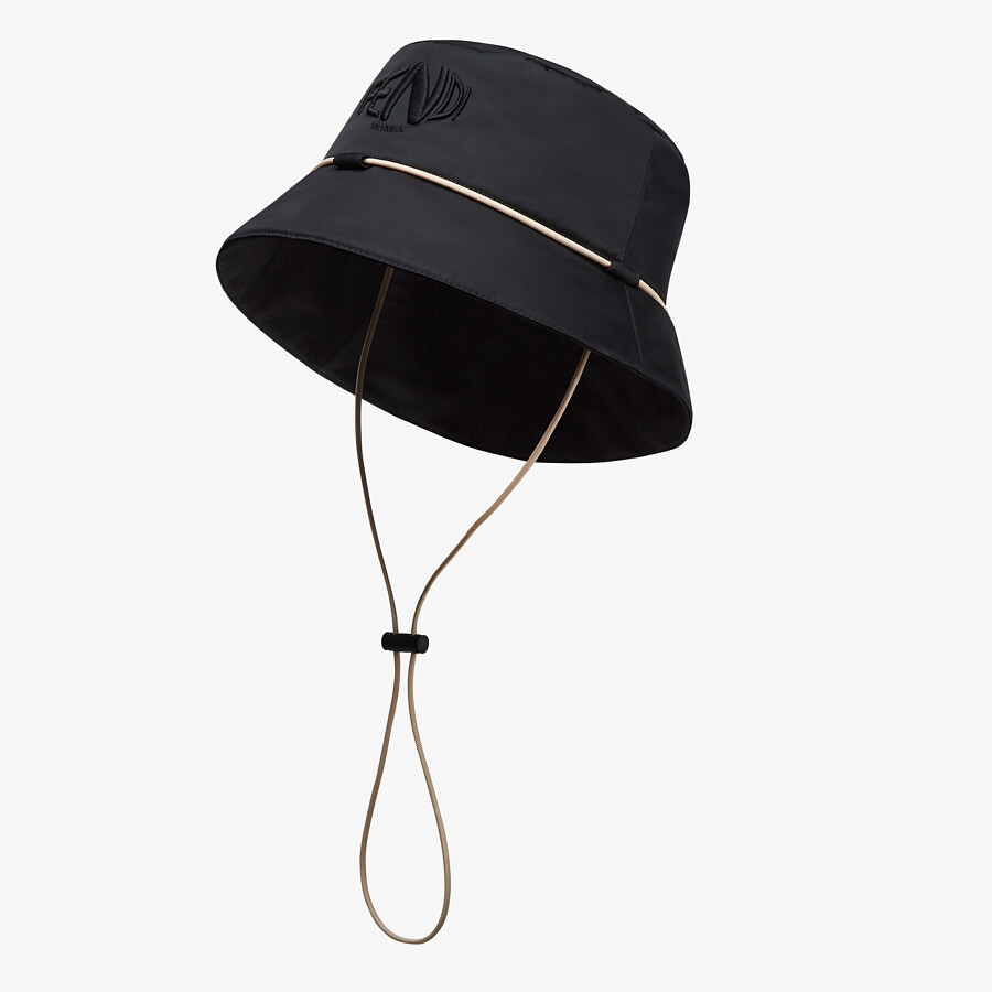 FENDI HAT - Black nylon bucket hat - view 1 detail