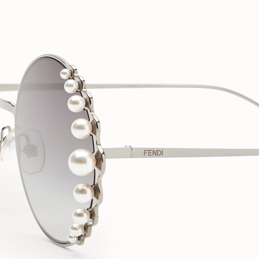 FENDI RIBBONS AND PEARLS - Ruthenium-color sunglasses - view 3 detail