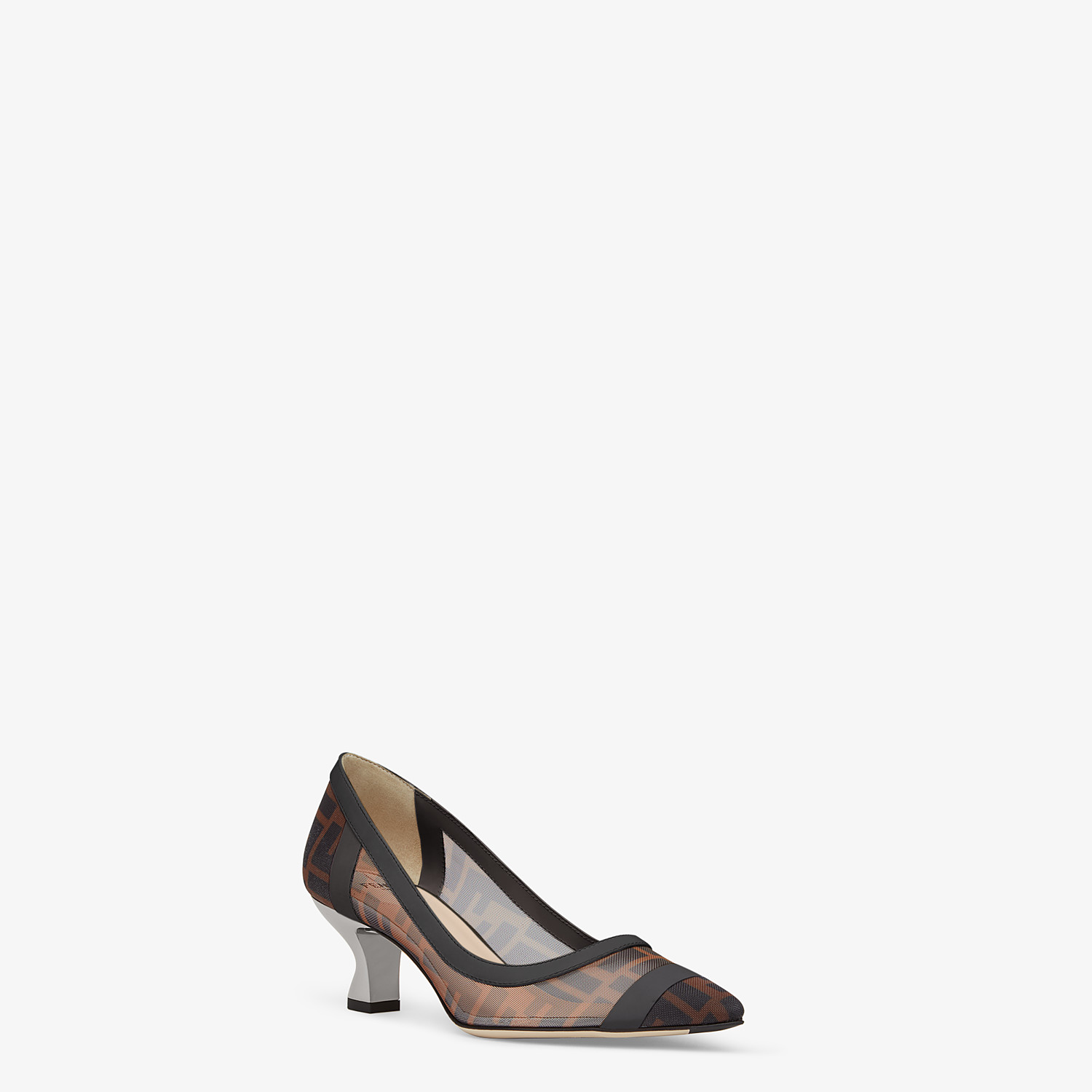 FENDI SLINGBACKS - Mesh and black leather pumps - view 2 detail
