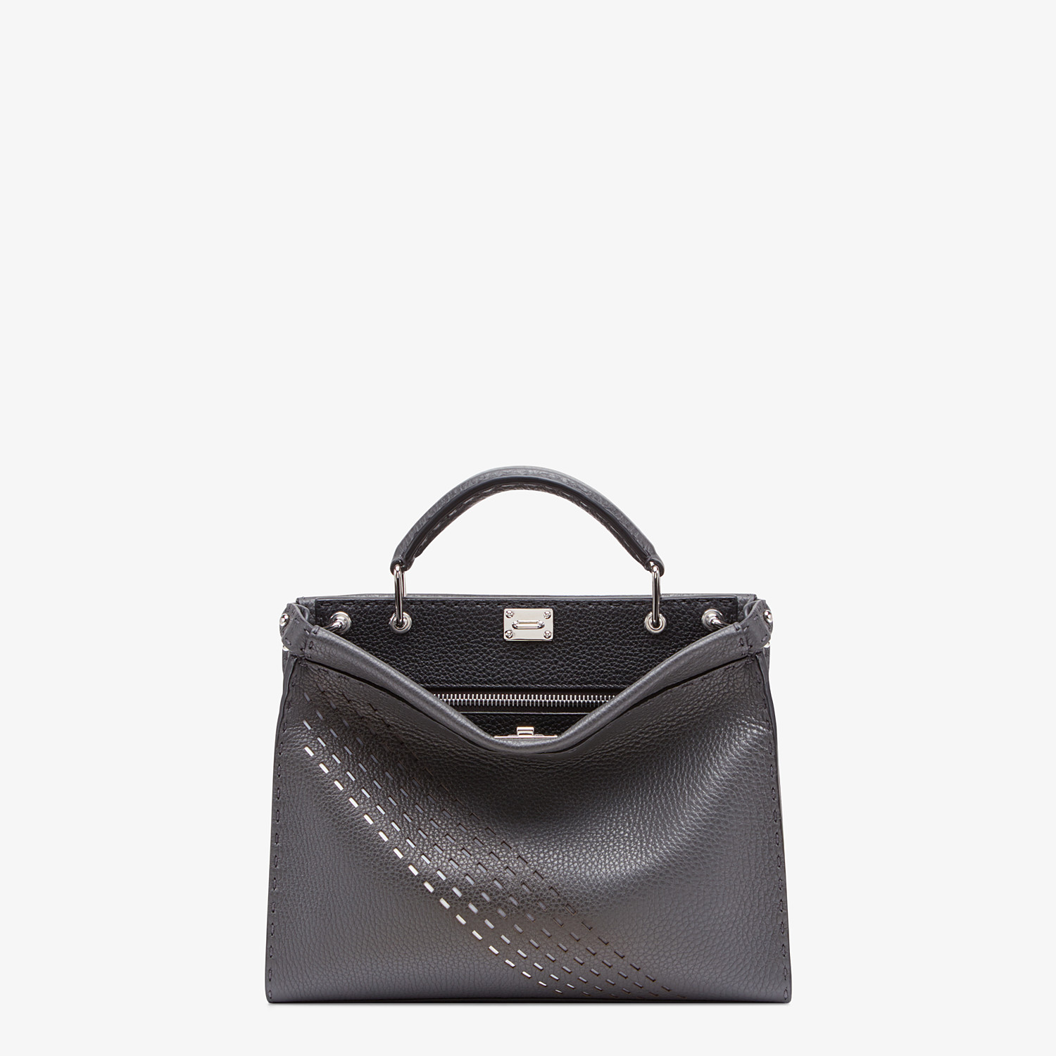 FENDI PEEKABOO ICONIC FIT MINI - Gray calfskin bag - view 1 detail