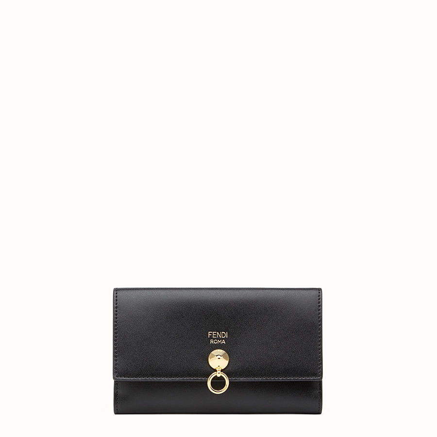 FENDI CONTINENTAL MEDIUM - Slim continental wallet in black leather - view 1 detail