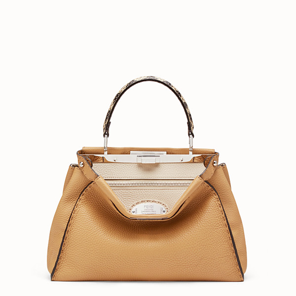 FENDI PEEKABOO ICONIC MEDIUM - Brown leather bag with exotic details - view 1 small thumbnail
