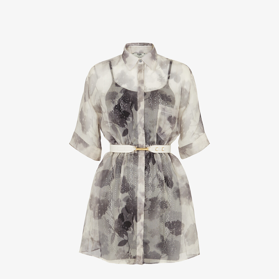 FENDI KLEID - Kleid aus Organza in Grau - view 1 detail