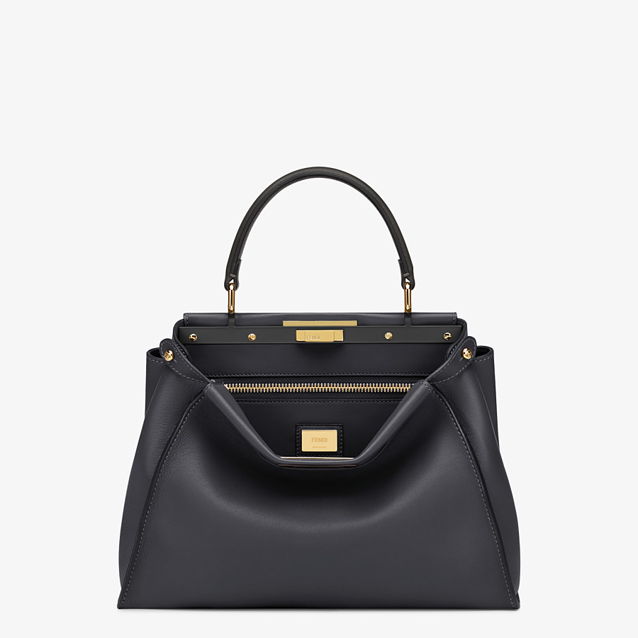 FENDI PEEKABOO ICONIC MEDIUM - handbag in black leather - view 1 detail