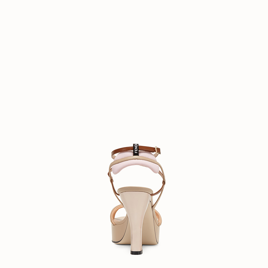 FENDI SANDALS - Beige leather sandals - view 3 detail