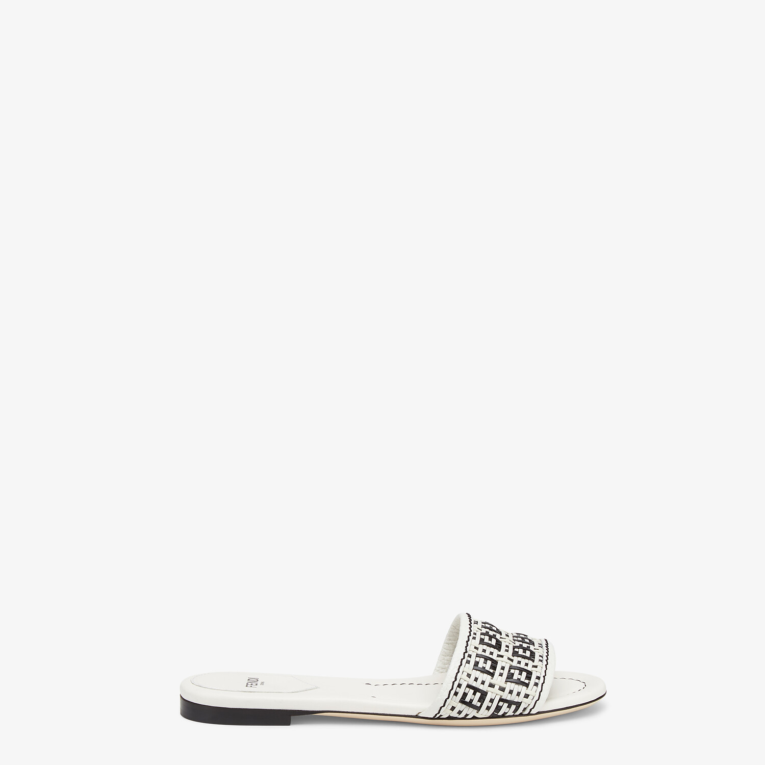 FENDI FF INTERLACE SLIDES - White leather slides - view 1 detail