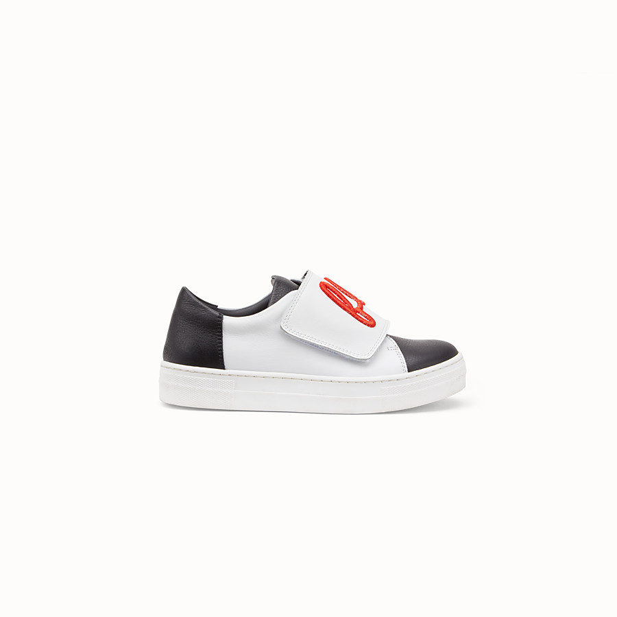 FENDI GIRL SNEAKERS - Black and white leather sneakers - view 1 detail
