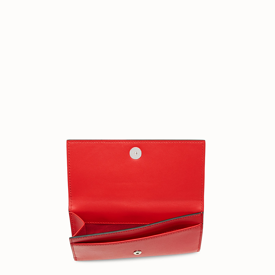 FENDI CONTINENTAL MEDIUM - Slim continental wallet in red leather - view 4 detail