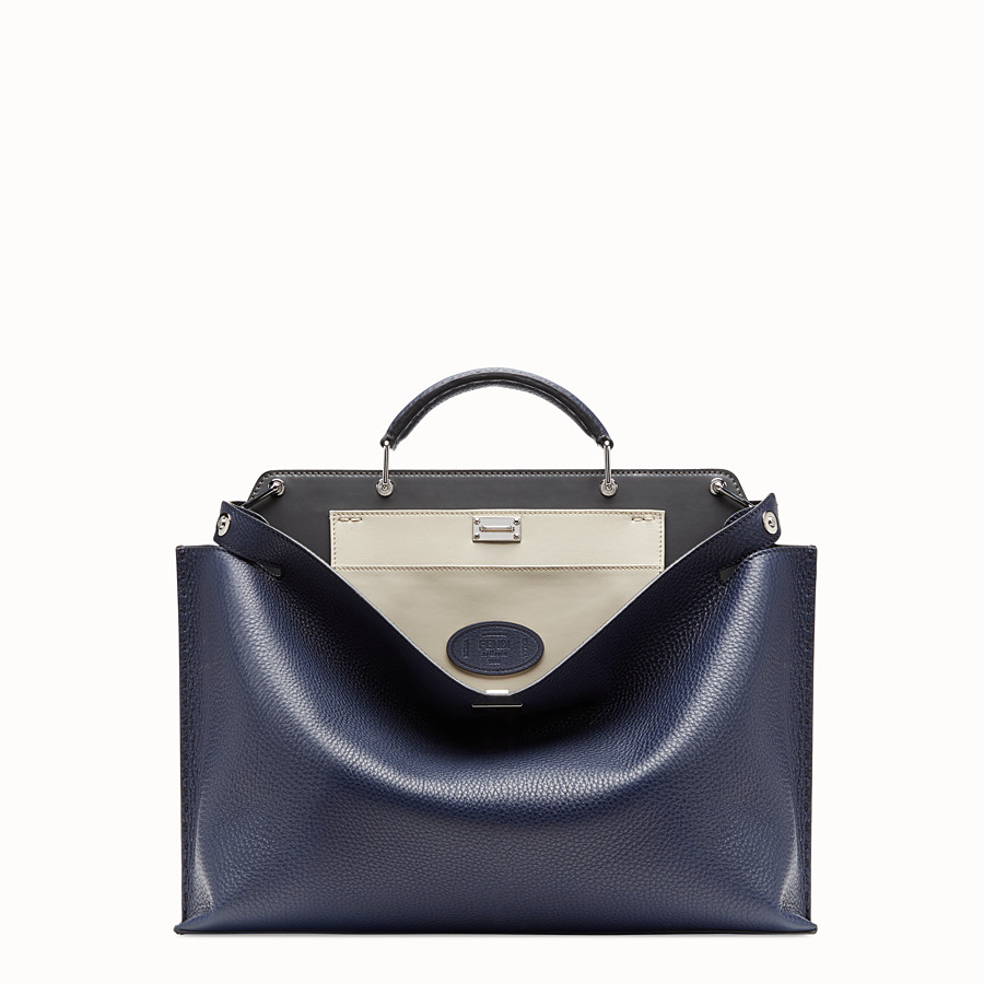 FENDI PEEKABOO ICONIC ESSENTIAL - Blue leather bag - view 1 detail