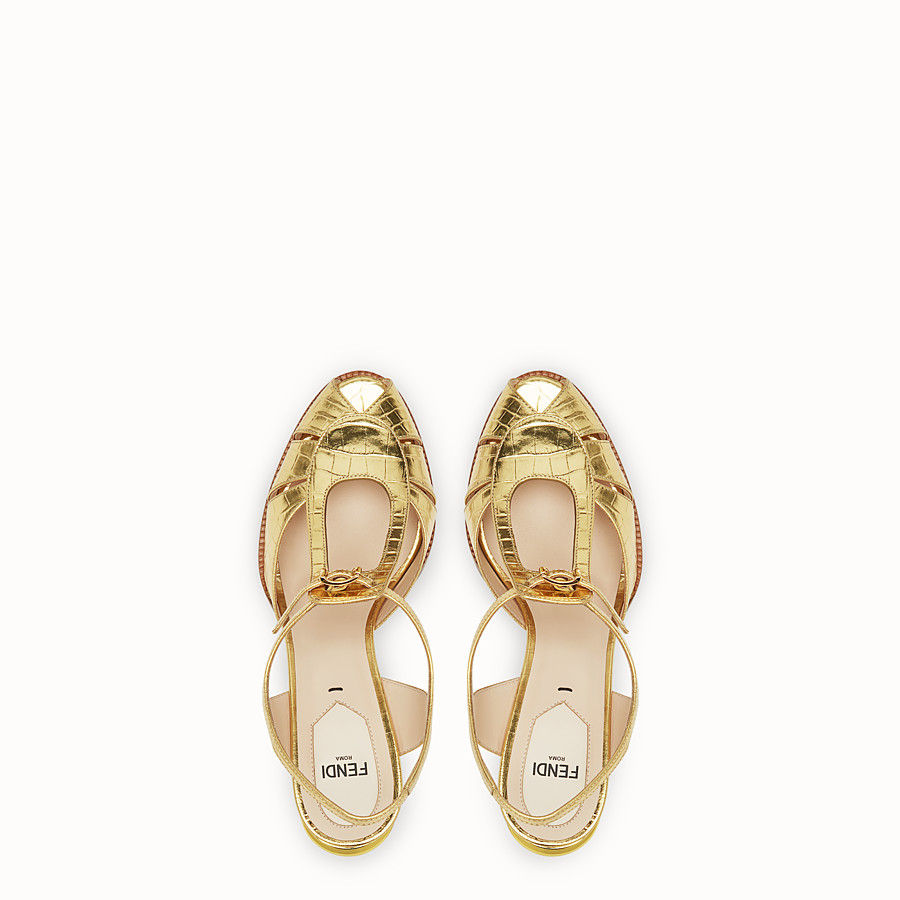 FENDI SANDALS - Gold leather sandals - view 4 detail