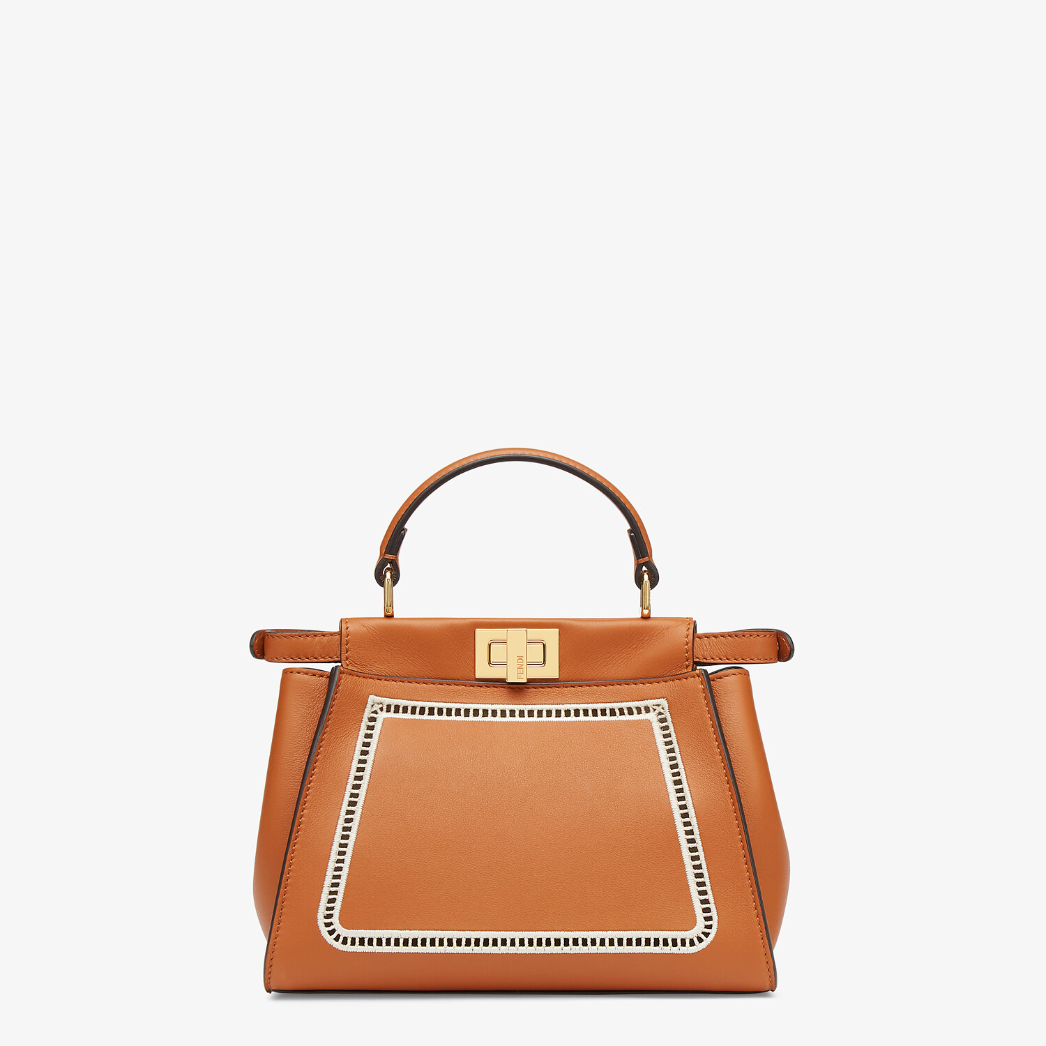 FENDI PEEKABOO ICONIC MINI - Embroidered brown leather bag - view 4 detail