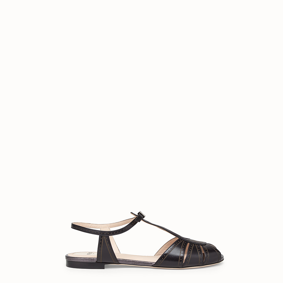 FENDI SANDALS - Black leather flats - view 1 detail