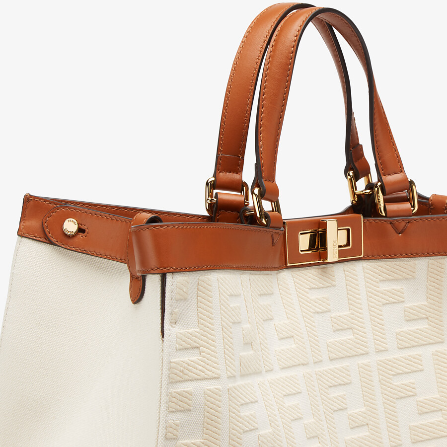 FENDI PEEKABOO X-TOTE - White canvas bag - view 6 detail