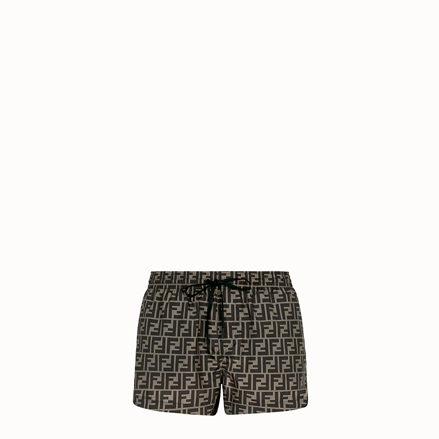 FENDI SWIM SHORTS - Brown fabric shorts - view 1 detail