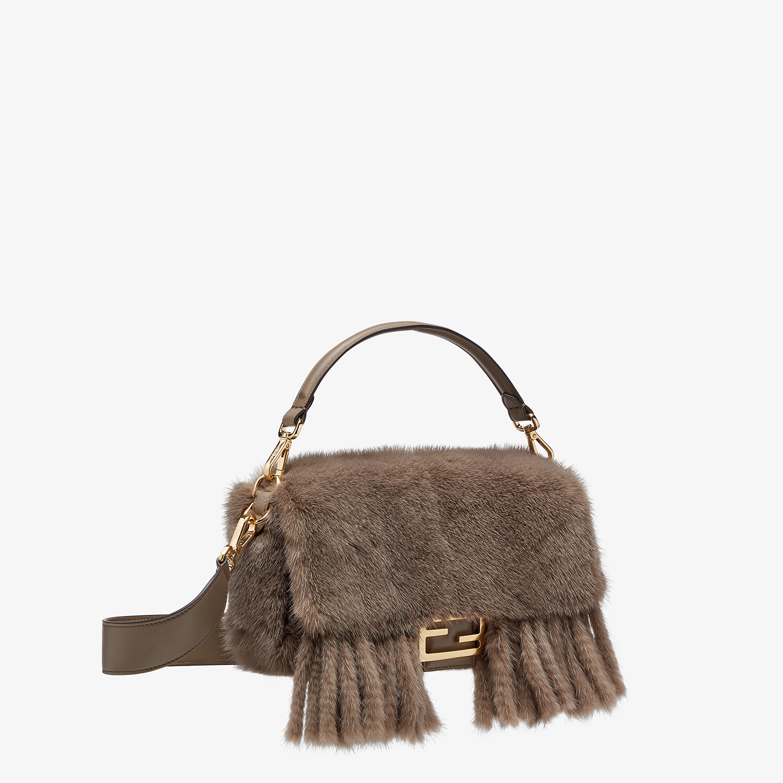 FENDI BAGUETTE - Gray mink bag with fringing - view 3 detail