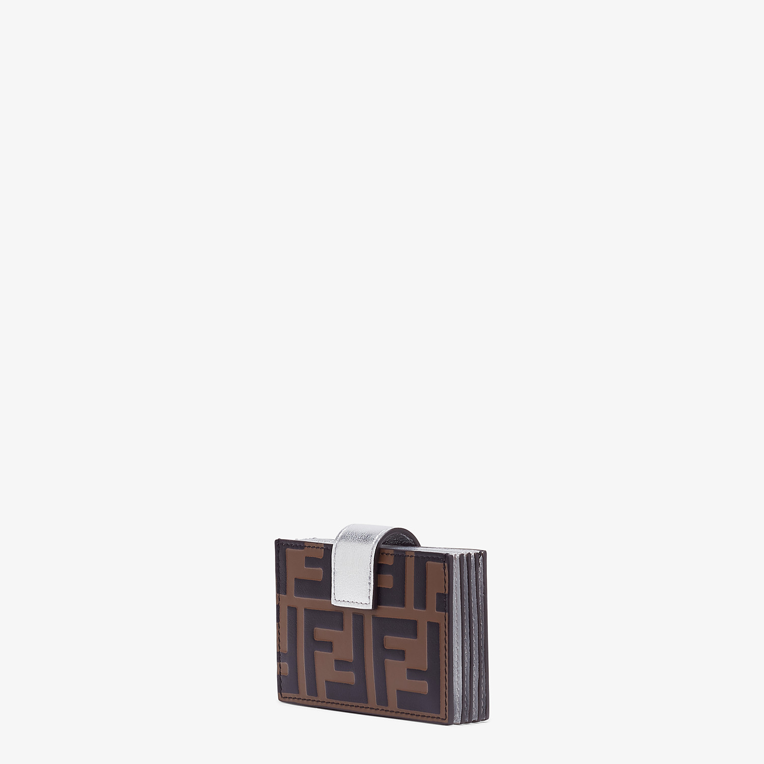 FENDI CARD HOLDER - Silver leather gusseted card holder - view 2 detail