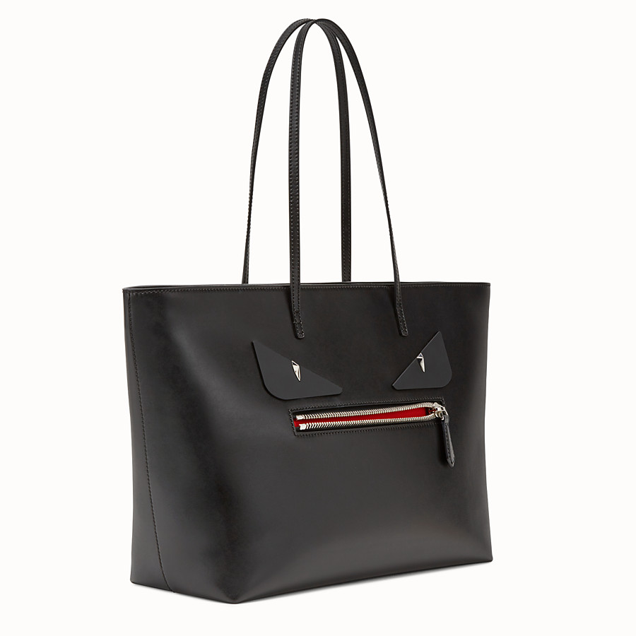 FENDI ROLL BAG - Bag Bugs black leather shopper bag - view 2 detail