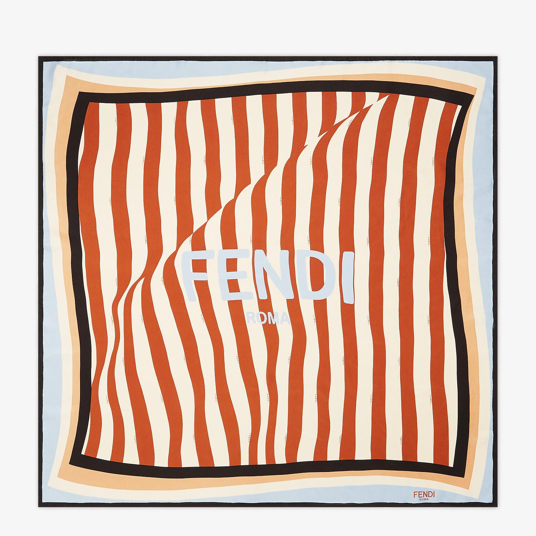 FENDI FOULARD PEQUIN - Foulard in seta marrone - vista 1 dettaglio