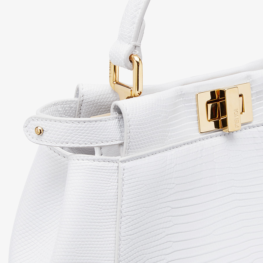 FENDI PEEKABOO ICONIC MINI - White lizard skin bag - view 5 detail