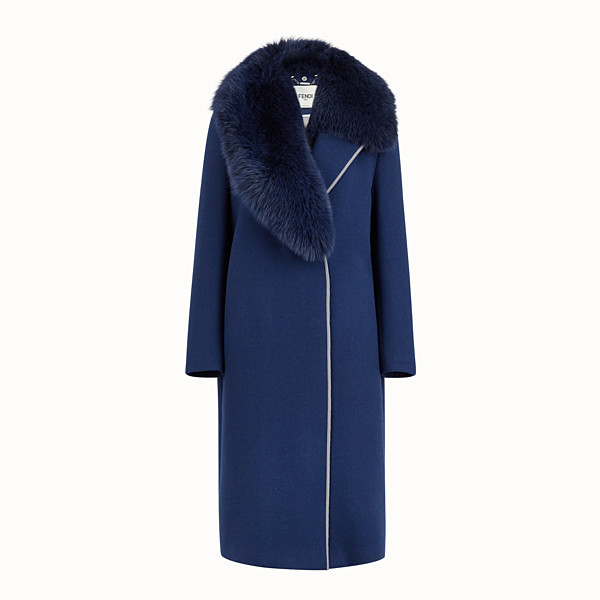 FENDI OVERCOAT - Blue wool coat - view 1 small thumbnail