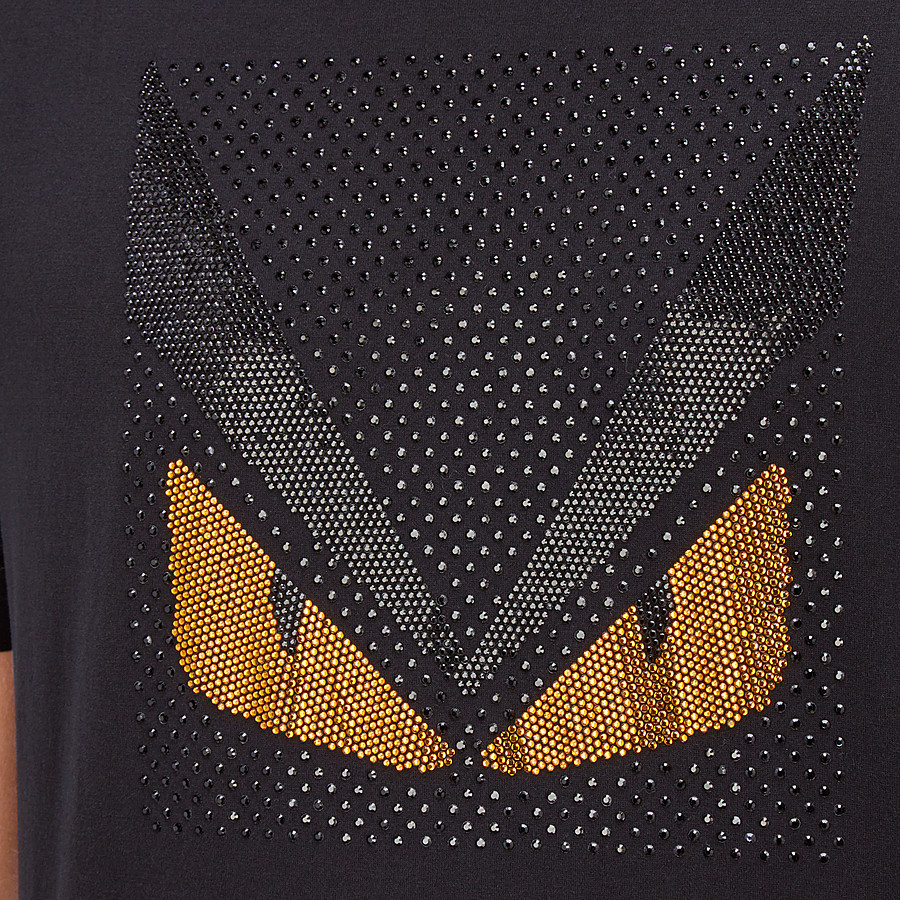FENDI T-SHIRT - T-Shirt mit Bag Bugs aus schwarzer Baumwolle - view 4 detail