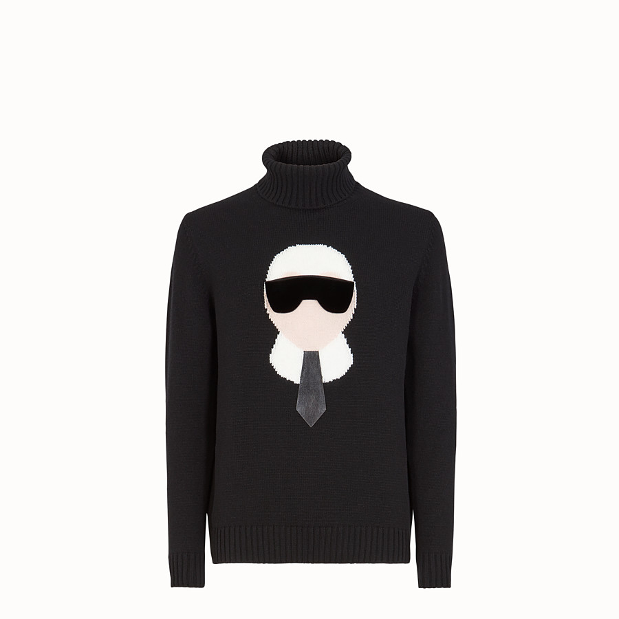 FENDI PULLOVER - Black cashmere sweater - view 1 detail