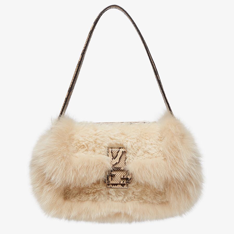 FENDI BAGUETTE MULTI - Beige sheepskin and fox fur bag - view 1 detail